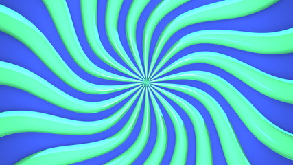 Abstract Green Wave On Blue Background
