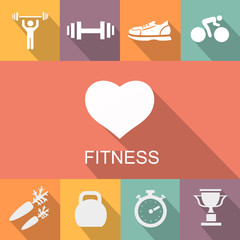Sports background with fitness icons  in flat style
