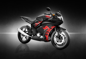 Motorcycle Motorbike Bike Riding Contemporary Black Concept