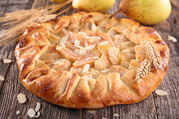 rustic pear tart and almonds
