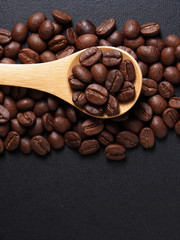 Coffee crop beans on bamboo spoon and leather texture background