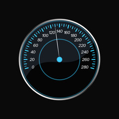 Speedometer on a black background. Blue scale