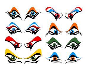 Set of abstract eyes