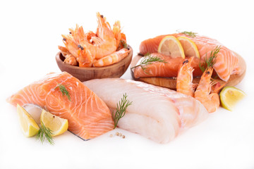 raw fish,shrimp,salmon isolated