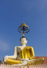 sitting buddha statue with clear sky background