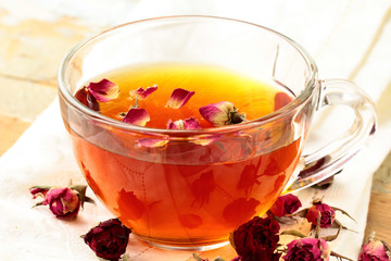 glass cup with herbal tea, healthy lifestyle