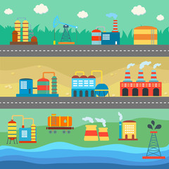 Industrial buildings factories horizontal banners set vector