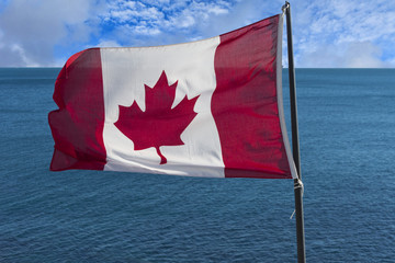 Canadian Flag by the sea