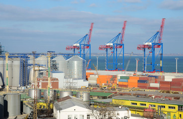 Odessa cargo port with grain dryers and colourful cranes,Ukraine