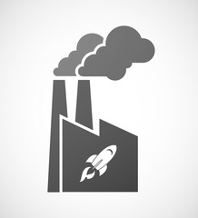 Factory icon with a rocket
