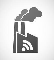 Factory icon with a RSS feed sign