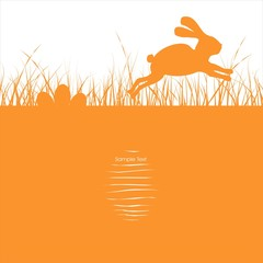 Easter bunny jumping in the grass & nest eggs Ostern