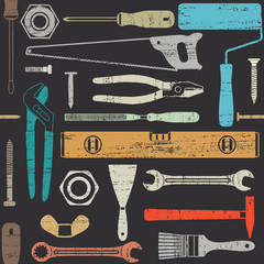 Scratched seamless pattern with various hand tools 1