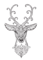 Stylized image, tattoo of a beautiful forest deer head with horn