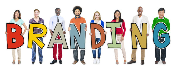 Group of People Standing Holding Branding Concept