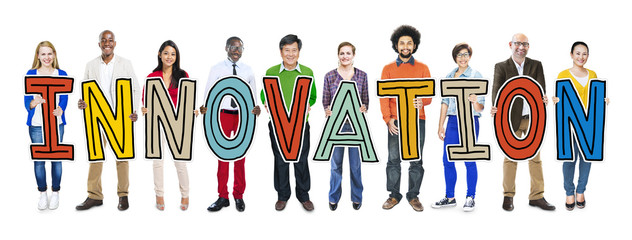 Group of People Standing Holding innovation Concept