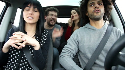 cool friends singing like crazy in car annoying man