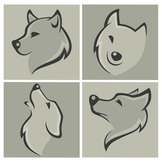 vector collection of wolf images and icons