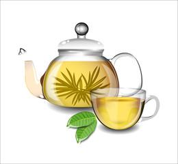 Transparent teapot and a cup of green tea.