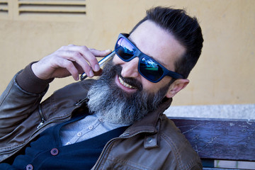 hipster with mobile