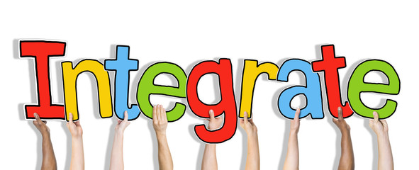 Group of Hands Holding Word Integrate Concept