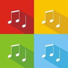 Iconos notas musicales colores sombra
