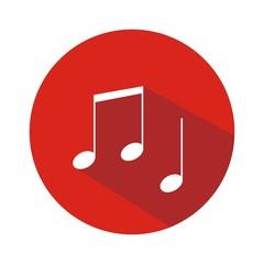 Icono notas musicales rojo botón sombra