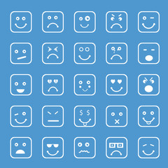 Different facial expressions on blue background.