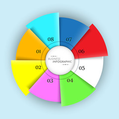 Colorful infographics pie chart for business presentation.