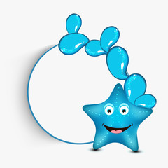 Funny cartoon of a starfish with blank frame for text.