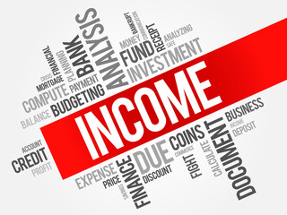 INCOME word cloud, business concept