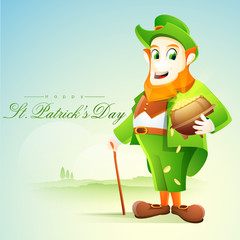 Leprechaun with gold coin pot for St. Patrick's Day celebration.