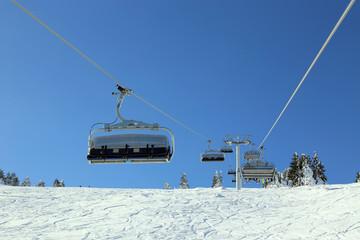 Ski lift in winter