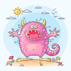 Scaring cartoon monster