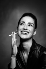 Laughing Smoking Woman
