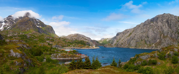 scenic view of fjord,  mountains, Norway, Lofoten