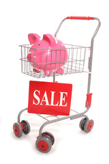 shopping trolley with piggy sale bank