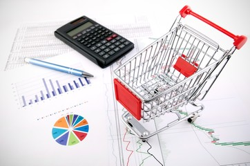 Shopping basket toy on business documents background