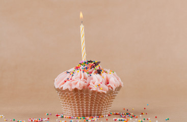 Beautiful Cupcake with burning candle and multicolored dragees