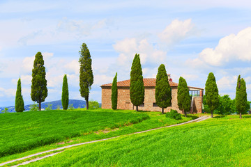 rural landscape with house and a twisting path, Tuscany