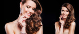 portrait of beautiful brunette model woman with luxury