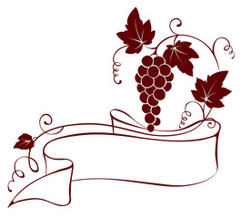 Vector illustration, design element -- grape with ribbon