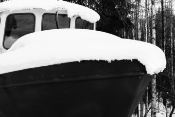 Boat under snow