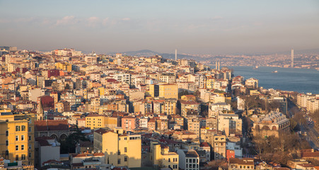 European side of Istanbul houses with bosphorus