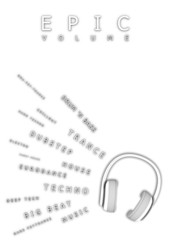 black-white headphones for music. poster