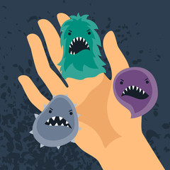 Background with little angry viruses and hand.