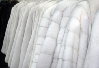Row of fur coats