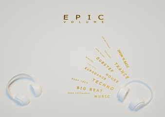white with gold decor exclusive headphones for music. poster