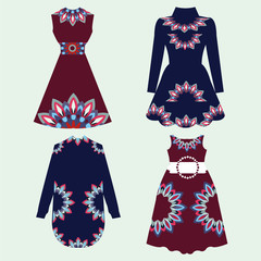 Set of women dresses with Ornament Pattern