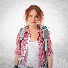 Backpacker over isolated white background